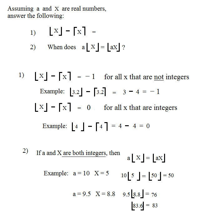 Worksheets Greatest Integer Function Worksheet math plane domain range functions relations solutions