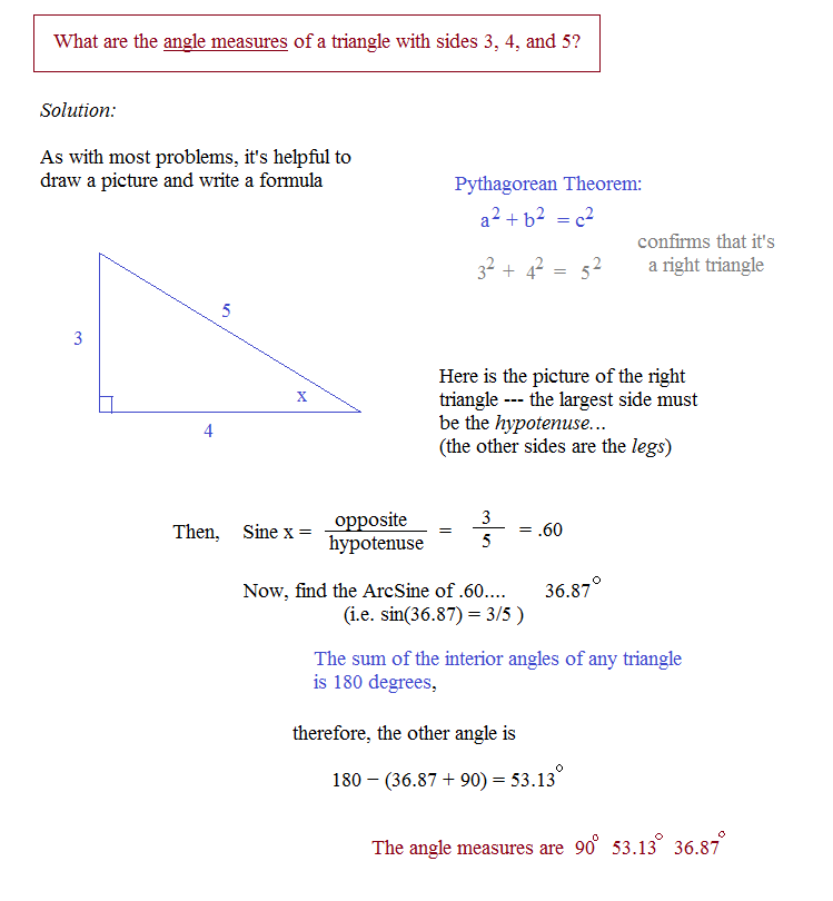 What are the angle measurements of a 345 right triangle