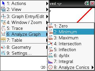 ti nspire analyze graph menu