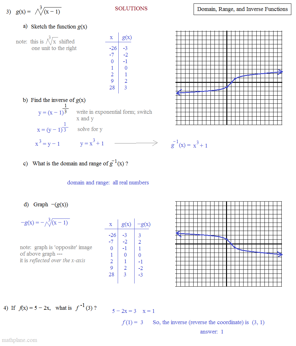 Algebra 2 finding domain and range worksheet answers
