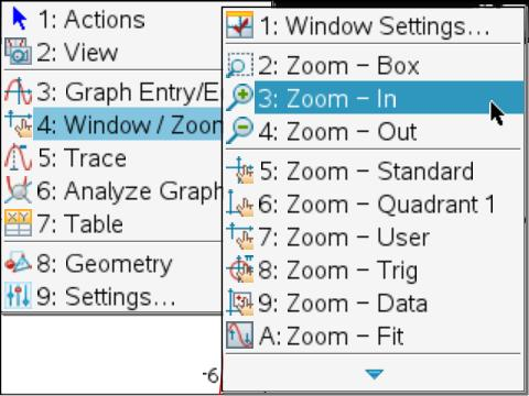 adjusting graph window menu