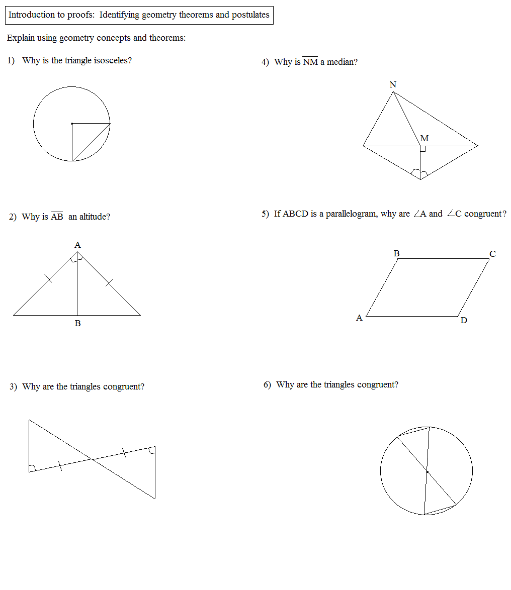 Math Plane Proofs Postulates 1 Worksheet – Triangle Proofs Worksheet