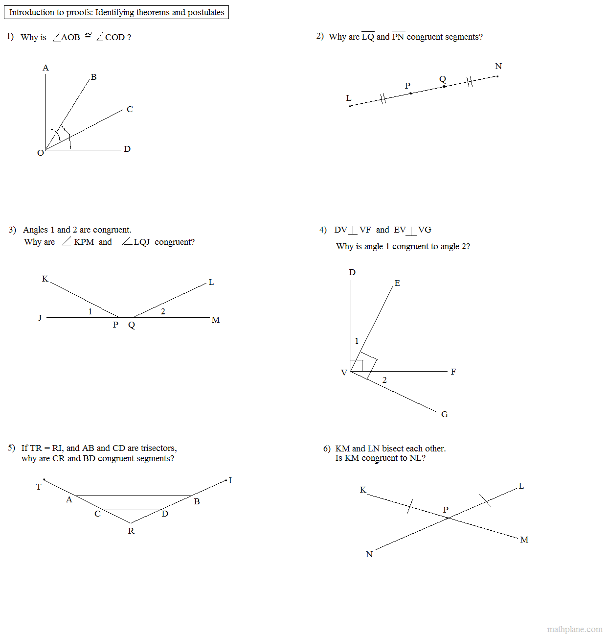 Printables Geometry Proofs Worksheets math plane proofs postulates 1 worksheet geometry and reasoning exercises