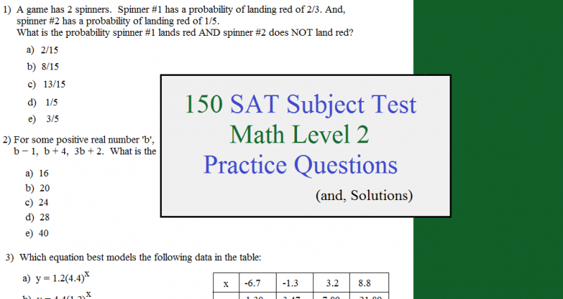 150 SAT subject test practice questions level 2