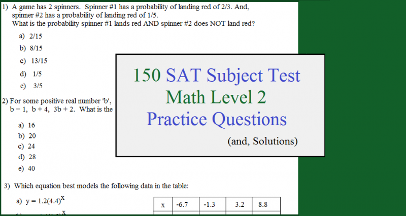 150 sat subject test questions