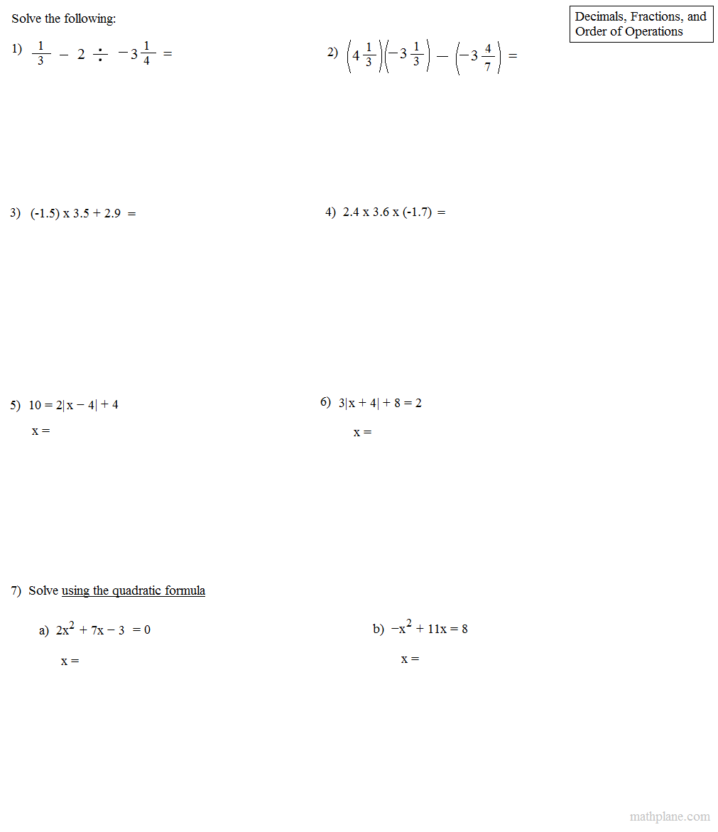 math worksheet : order of operations with fractions and decimals  order of  : Order Of Operations With Fractions Worksheets
