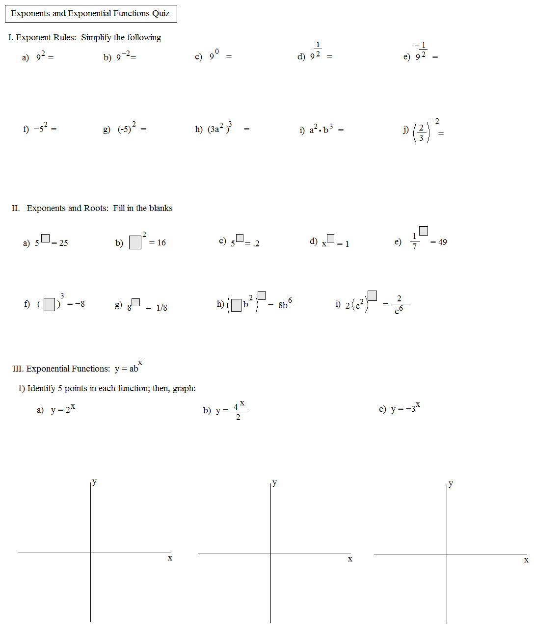 Math Plane Exponents and Exponential Equations – Graphing Exponential Functions Worksheet Algebra 1