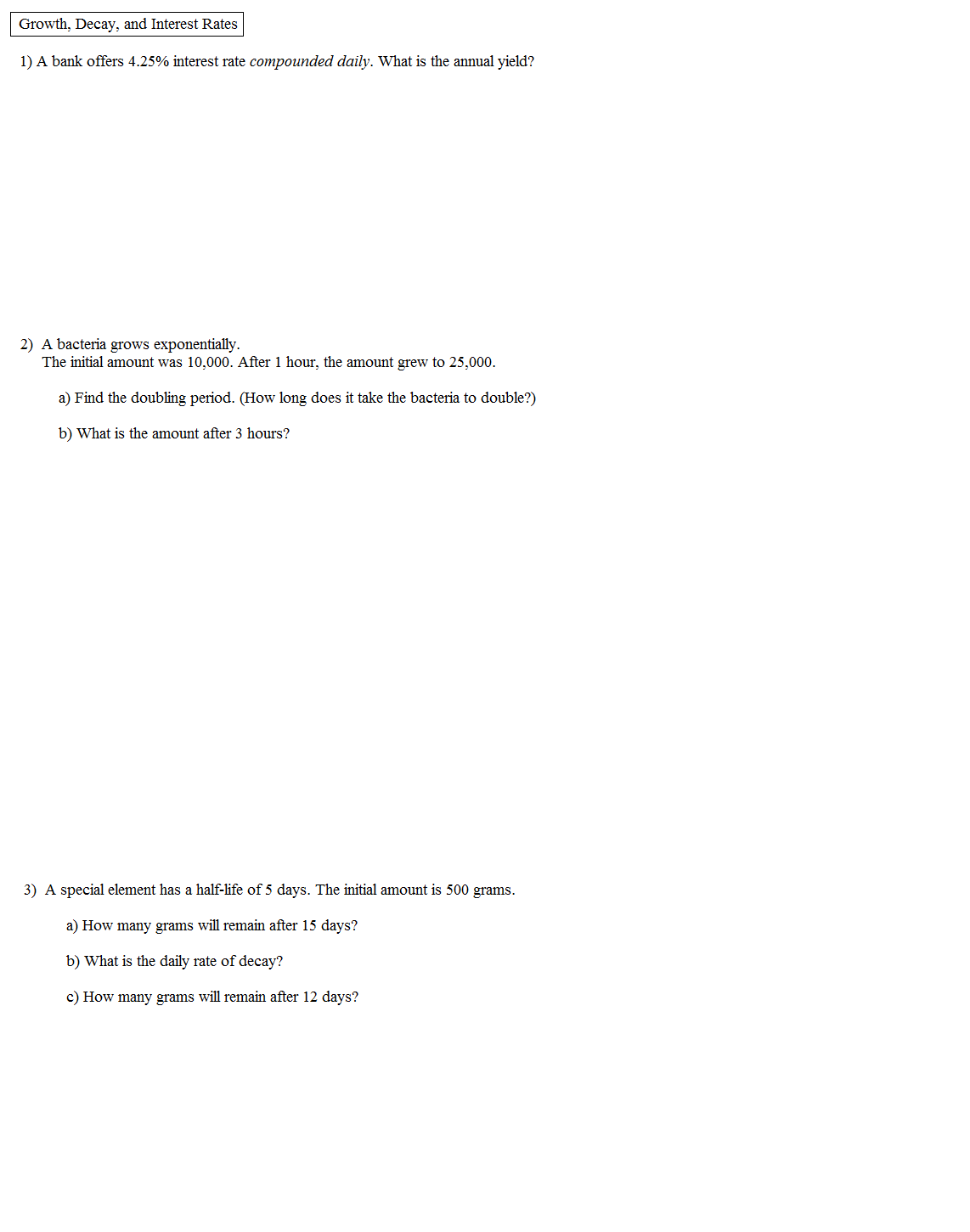 Free Worksheet Half Life Problems Worksheet math plane growth decay interest half life rate quiz 1