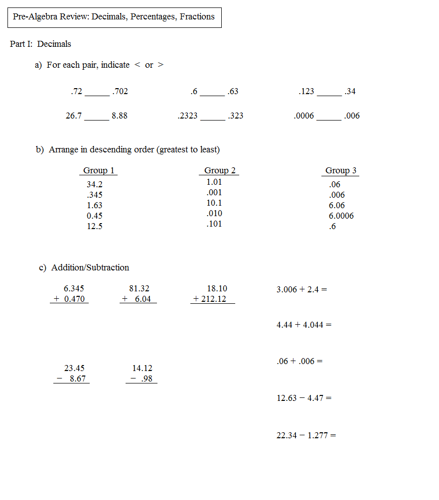 Printables Pre Algebra Review Worksheets math plane pre algebra review 2 test 1