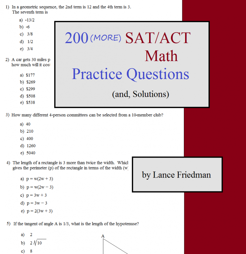 Math Worksheets sat prep math worksheets : Math Plane - 200 (MORE) SAT ACT Math Practice Questions (and ...