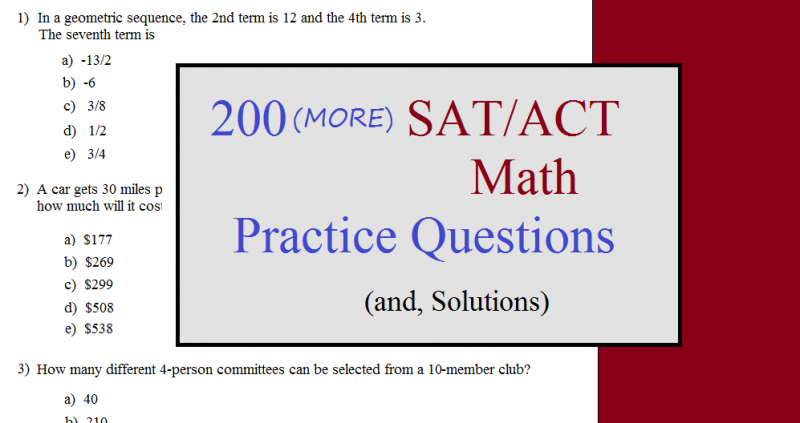 200 more sat act math questions