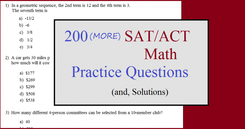 200 more act sat math questions