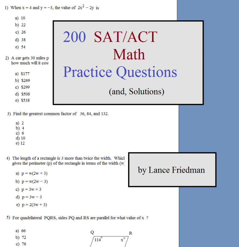 Math Plane - 200 SAT ACT Math Practice Questions and solutions
