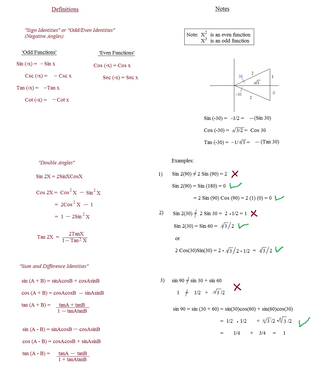 math plane trig identities i introduction  trig identities intro notes and examples 2