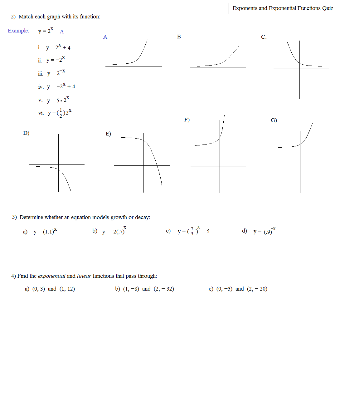 Math Plane Exponents And Exponential Equations