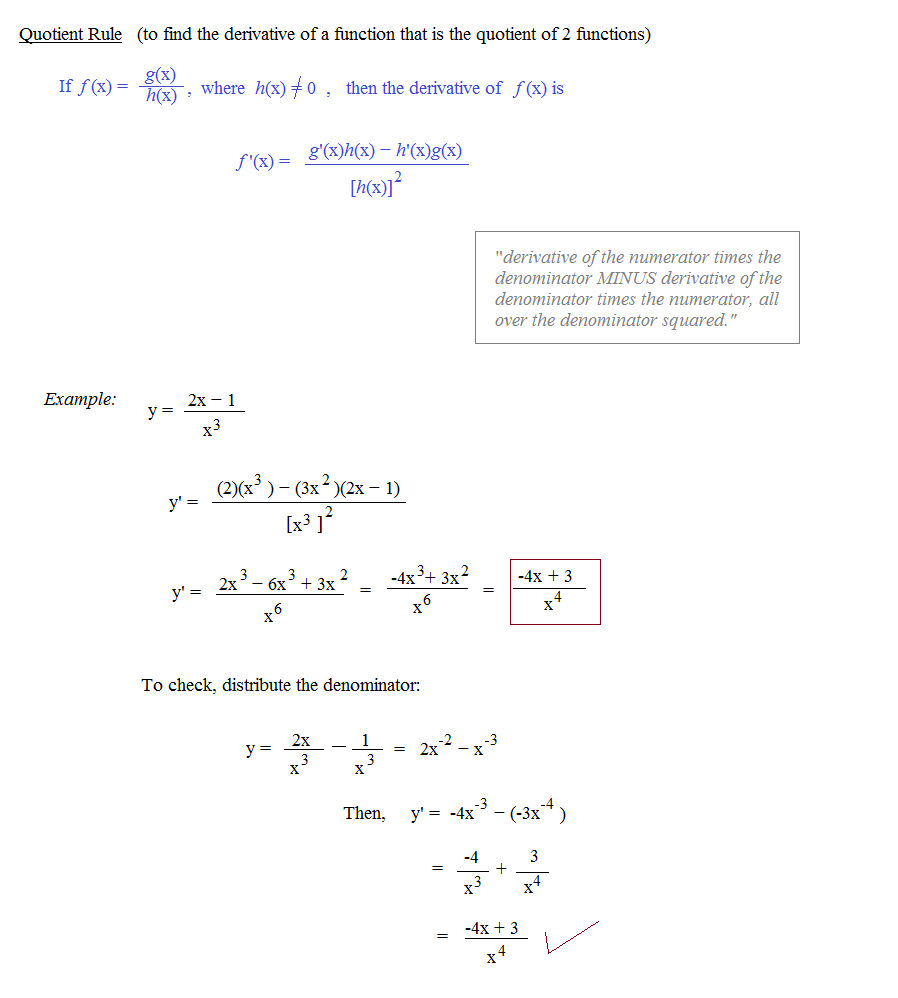 Math Plane Common Derivative Rules Product Quotient