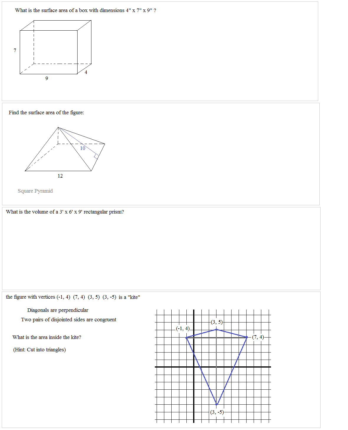 worksheet Volume Of A Pyramid Worksheet math plane middle school geometry surface area and volume