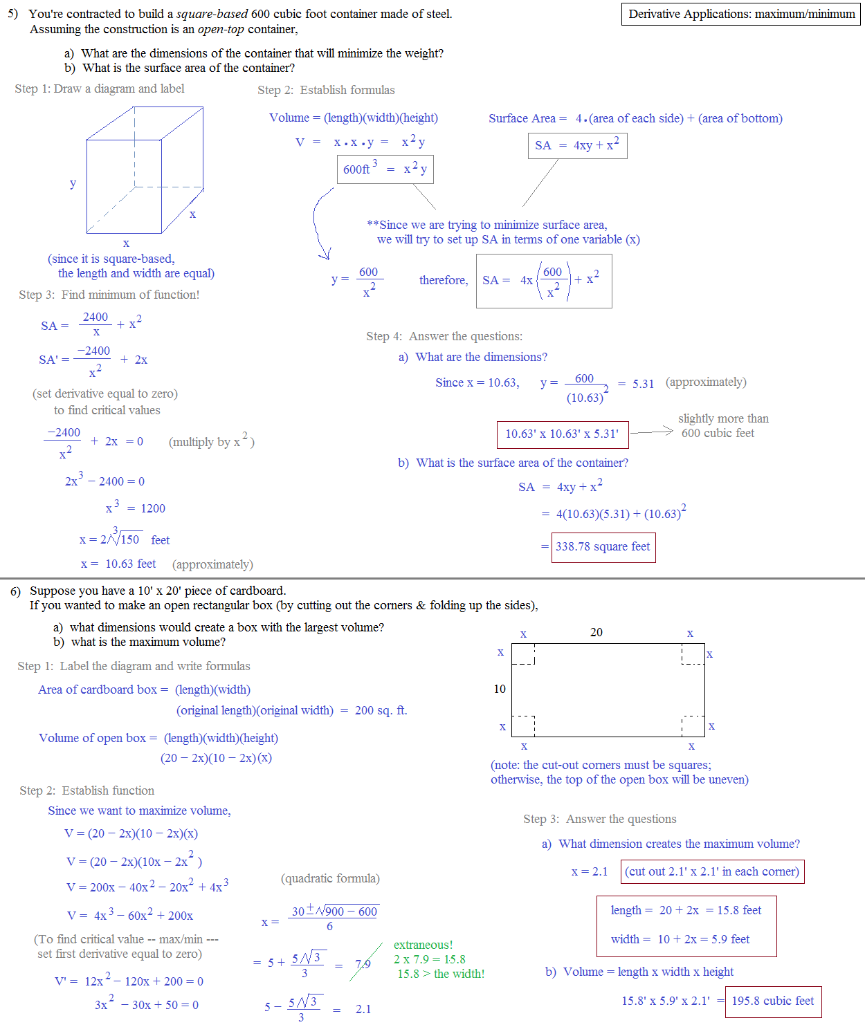 Worksheets Application Of Optimization  Work Sheet With Solution calculus optimization worksheet abitlikethis