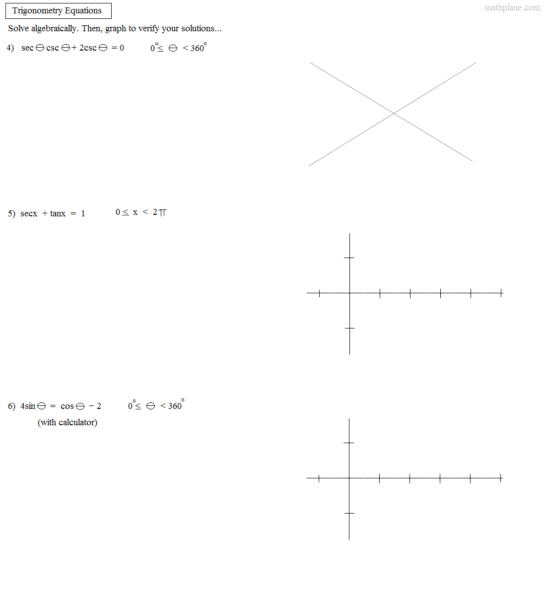 Math Plane - Trig Identities III - Solving and Graphing