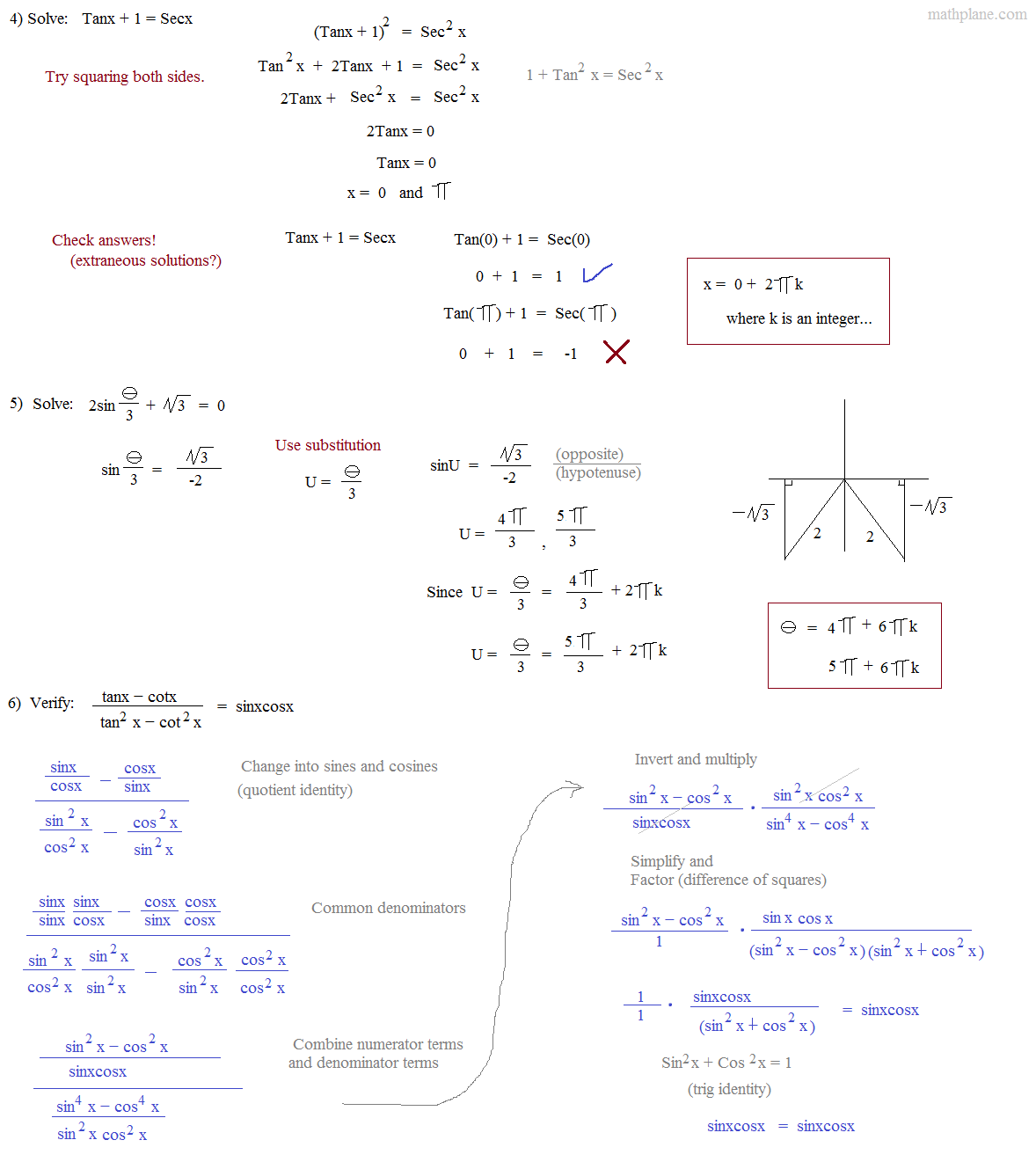 Math Plane Trig Identities I Introduction