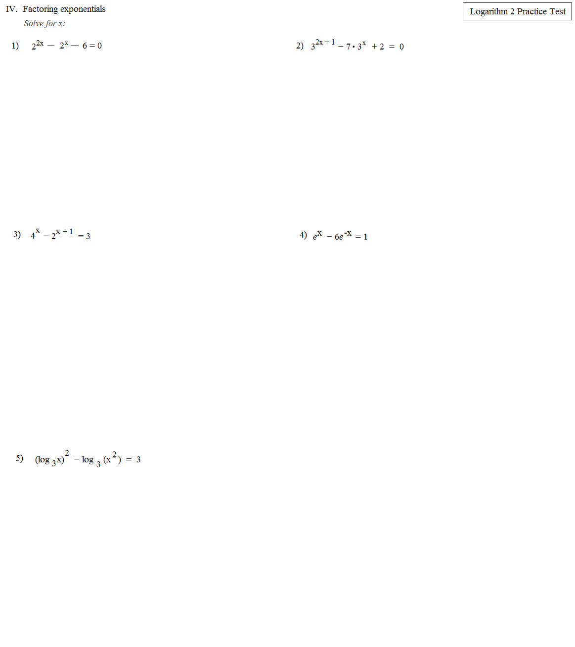 Math Plane Logarithms and Exponents II Equations – Exponents and Logarithms Worksheet