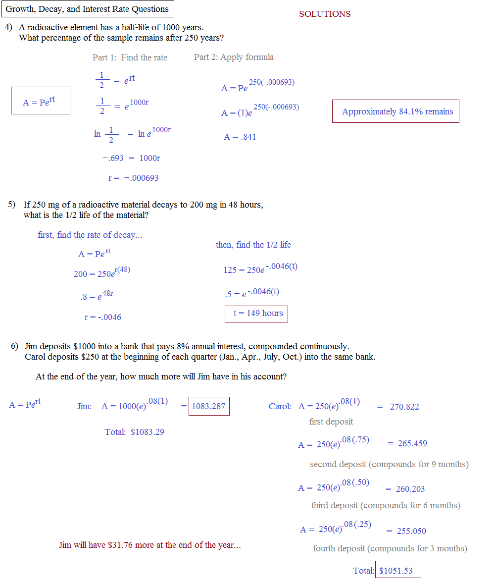 Printables Exponential Growth And Decay Worksheet math plane growth decay interest half life rate quiz 2 solutions