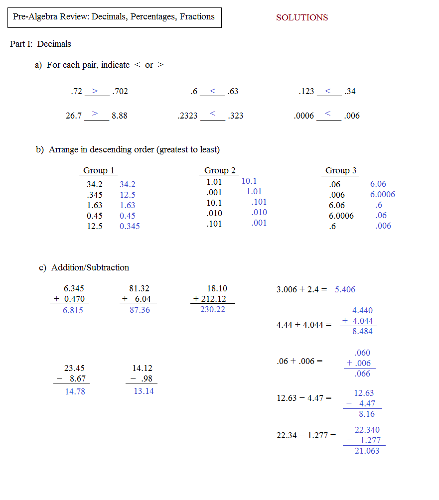 Worksheet Pre Algebra Review Worksheets math plane pre algebra review 2 test 1 solutions