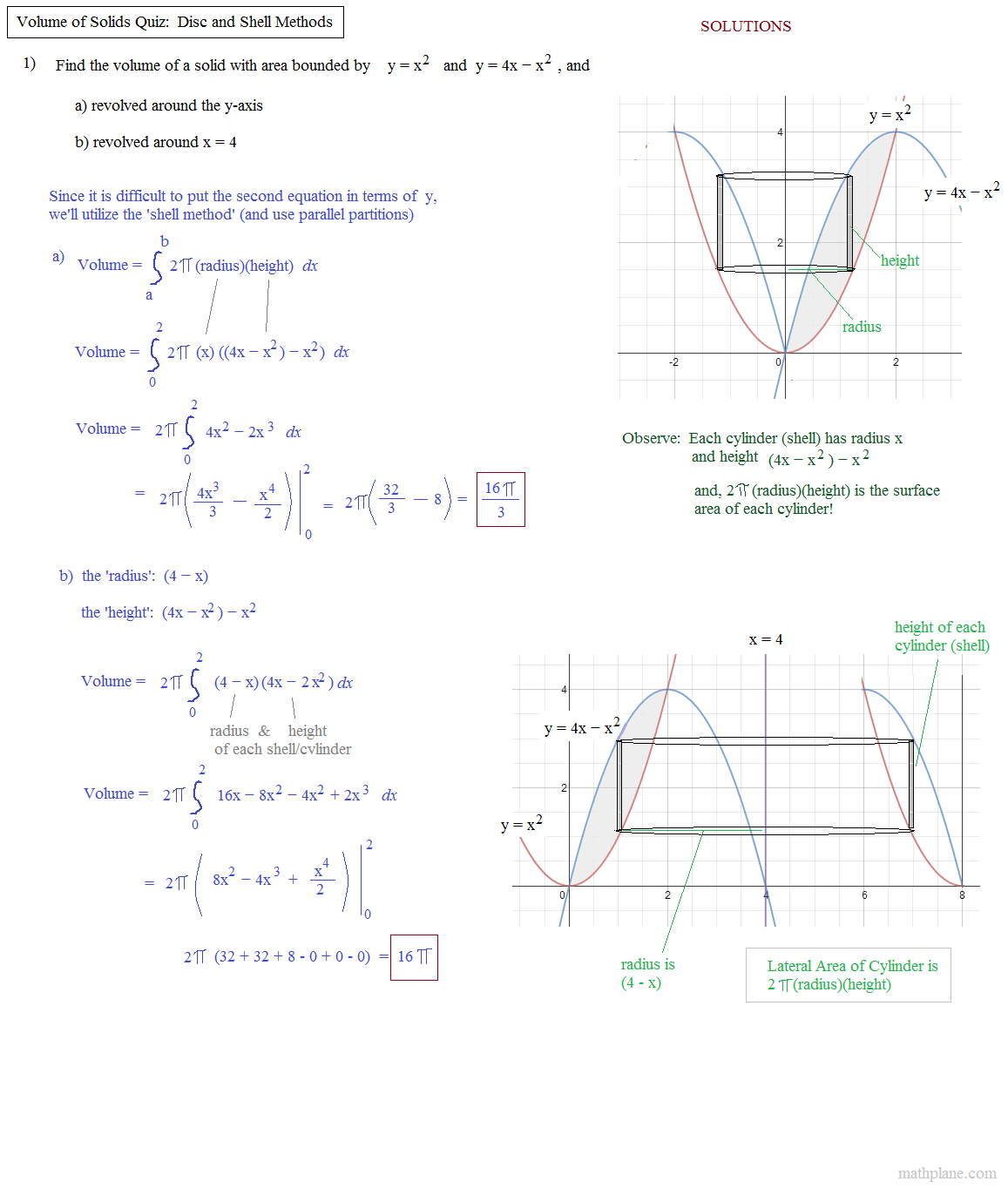 Volume Of Solid Shell Method Quiz Solutions