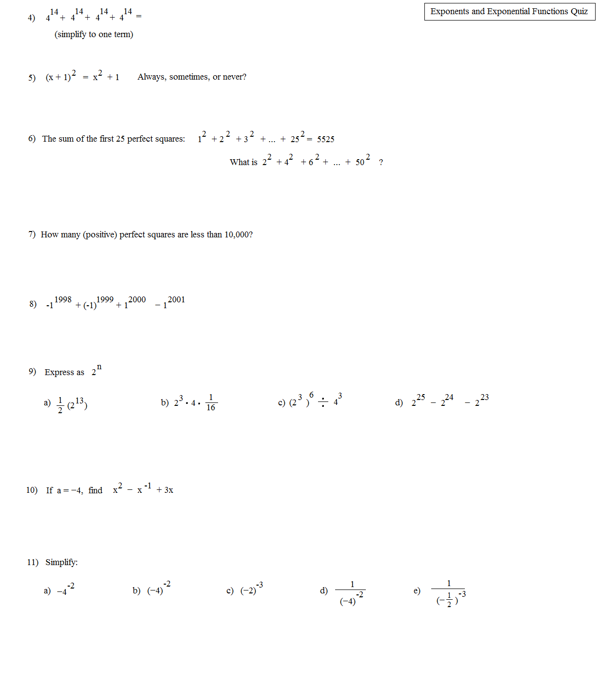 worksheet Exponents And Exponential Functions Worksheets math plane exponents and exponential equations functions quiz e