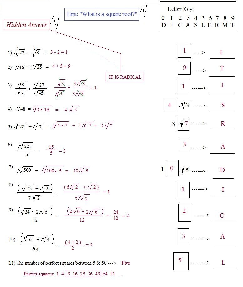 Worksheet Simplifying Radical Expressions Worksheet Answers simplifying radical expressions worksheet key 1000 images about math puzzle operations with key