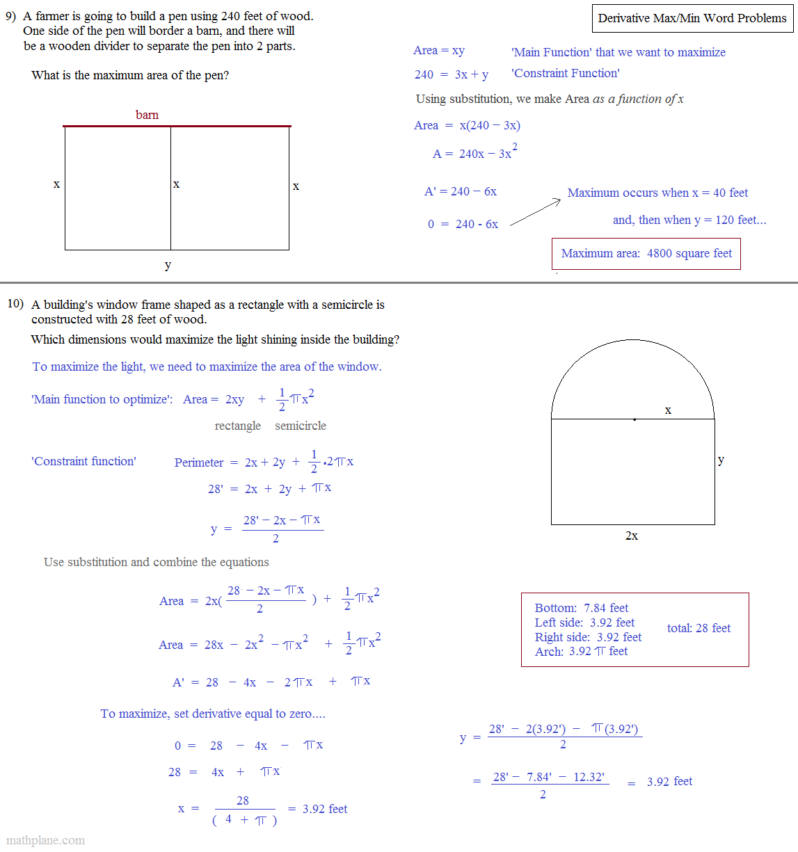 ... calculus max min application answers 5 ...