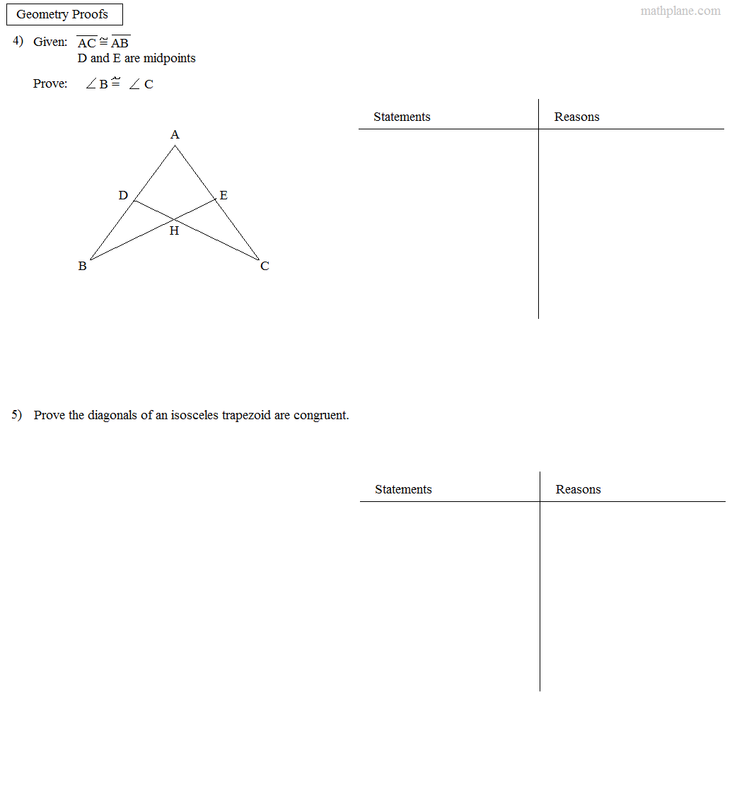 Math Plane Proofs Postulates 1 Worksheet – Geometry Worksheet Congruent Triangles Answers