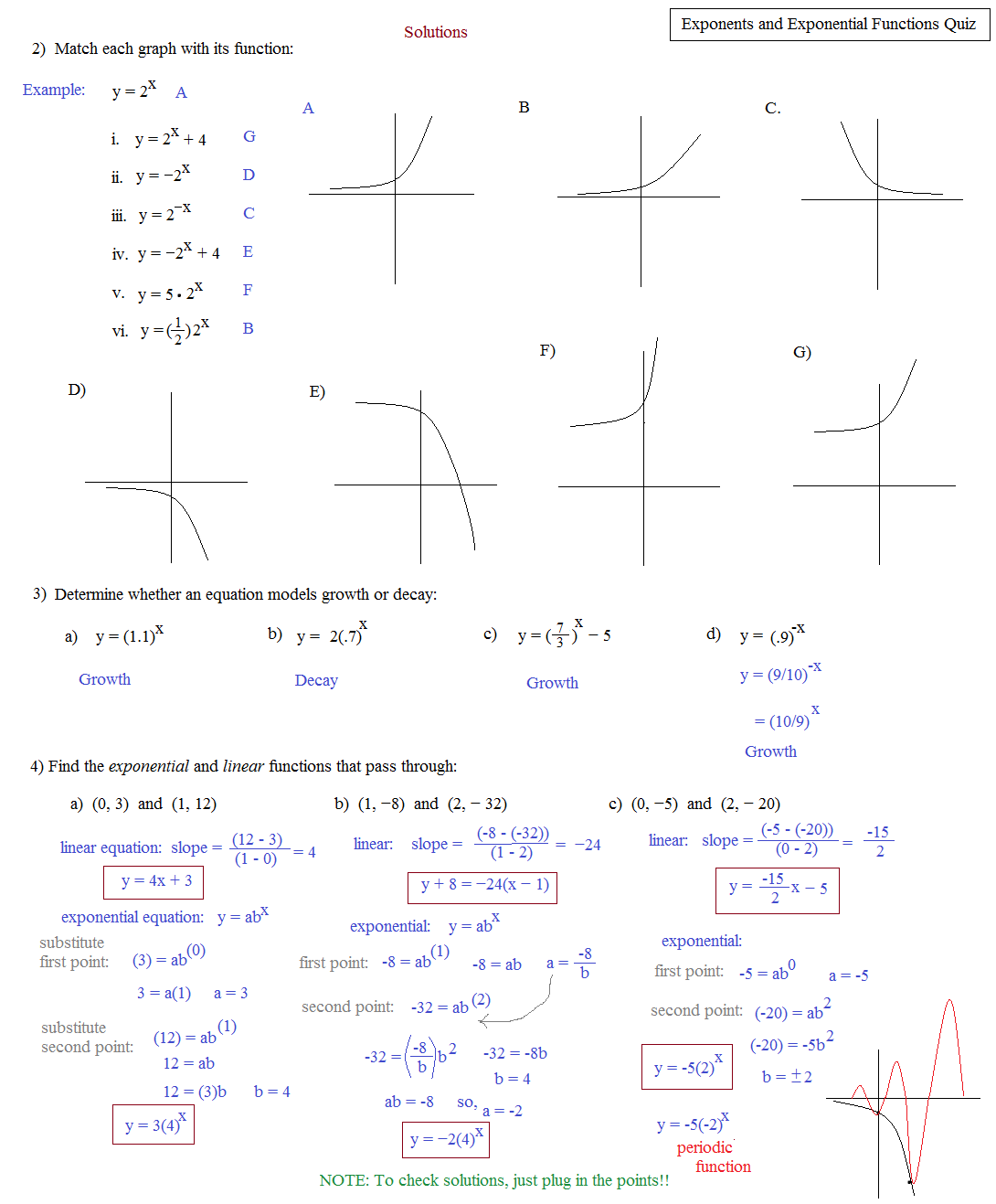 Worksheet Graphing Exponential Functions Worksheet math plane exponents and exponential equations functions quiz b solutions