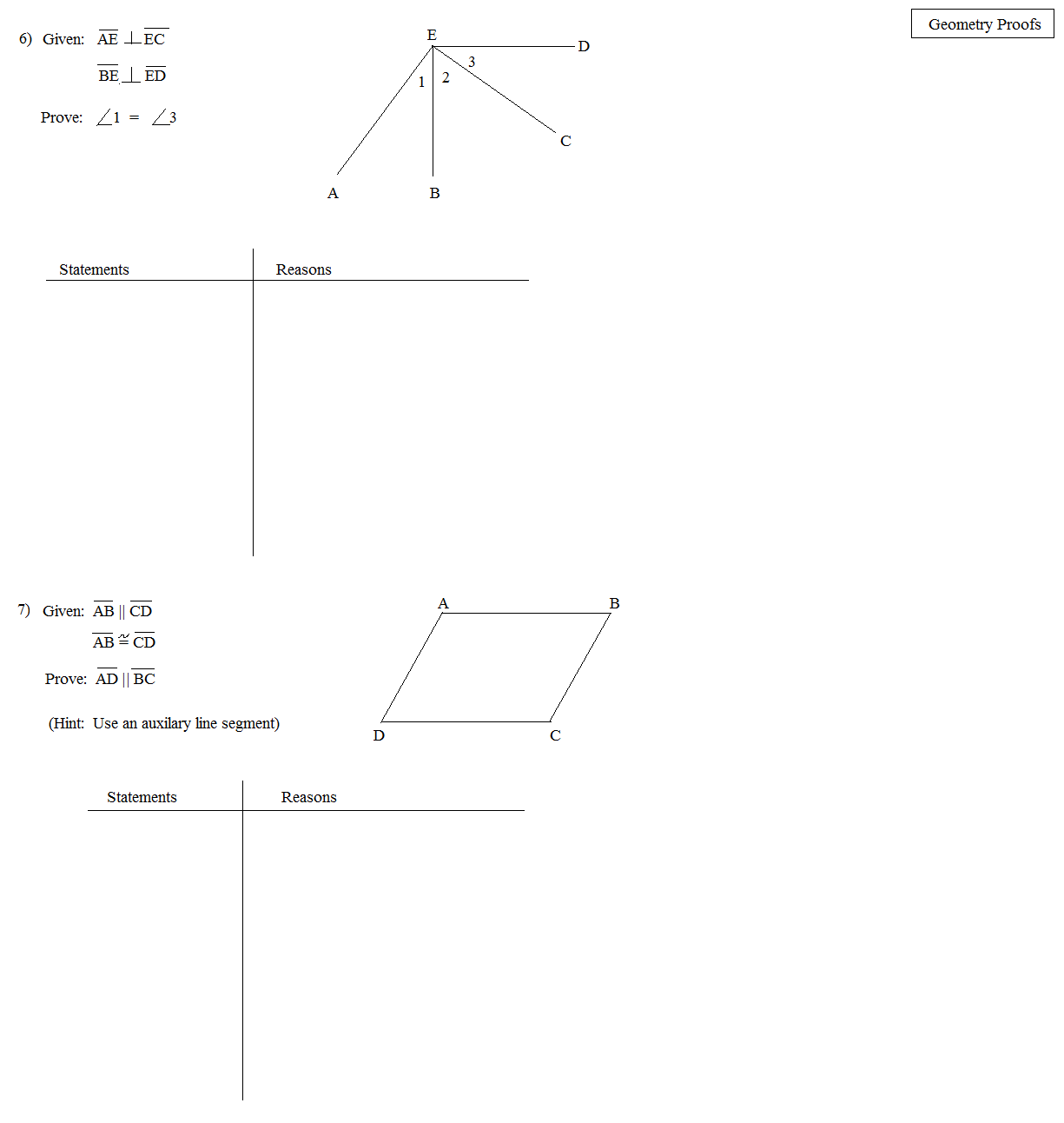Reasoning In Algebra and Geometry Worksheet - webmart.me