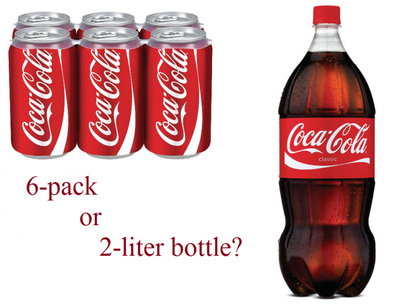 6 pack or 2-liter bottle coke math question