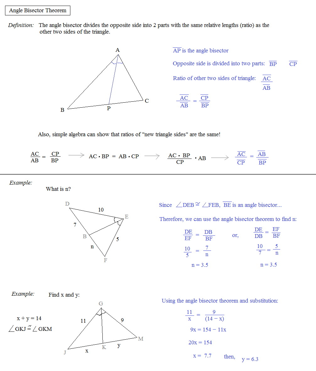 Math Plane Similar Triangles Ratios – Perpendicular and Angle Bisectors Worksheet