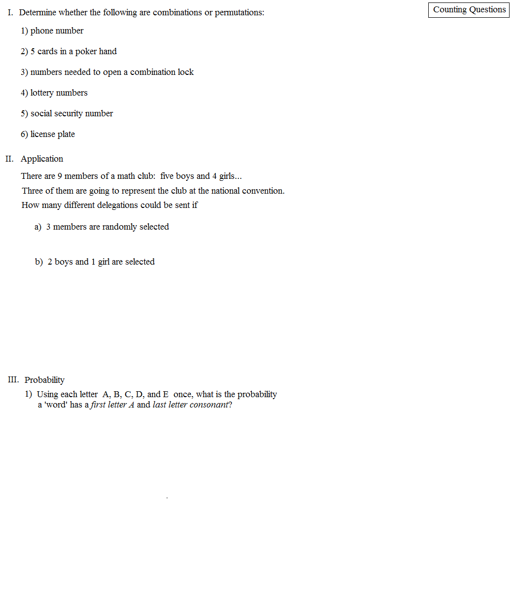 Worksheets Counting Principle Worksheet math plane counting principles permutations and combinations principle quiz 1