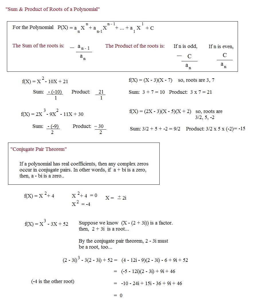 worksheet Finding Roots Of Polynomials Worksheet math plane polynomials factors roots and theorems introduction finding polynomial when given sum product of conjugate pairs