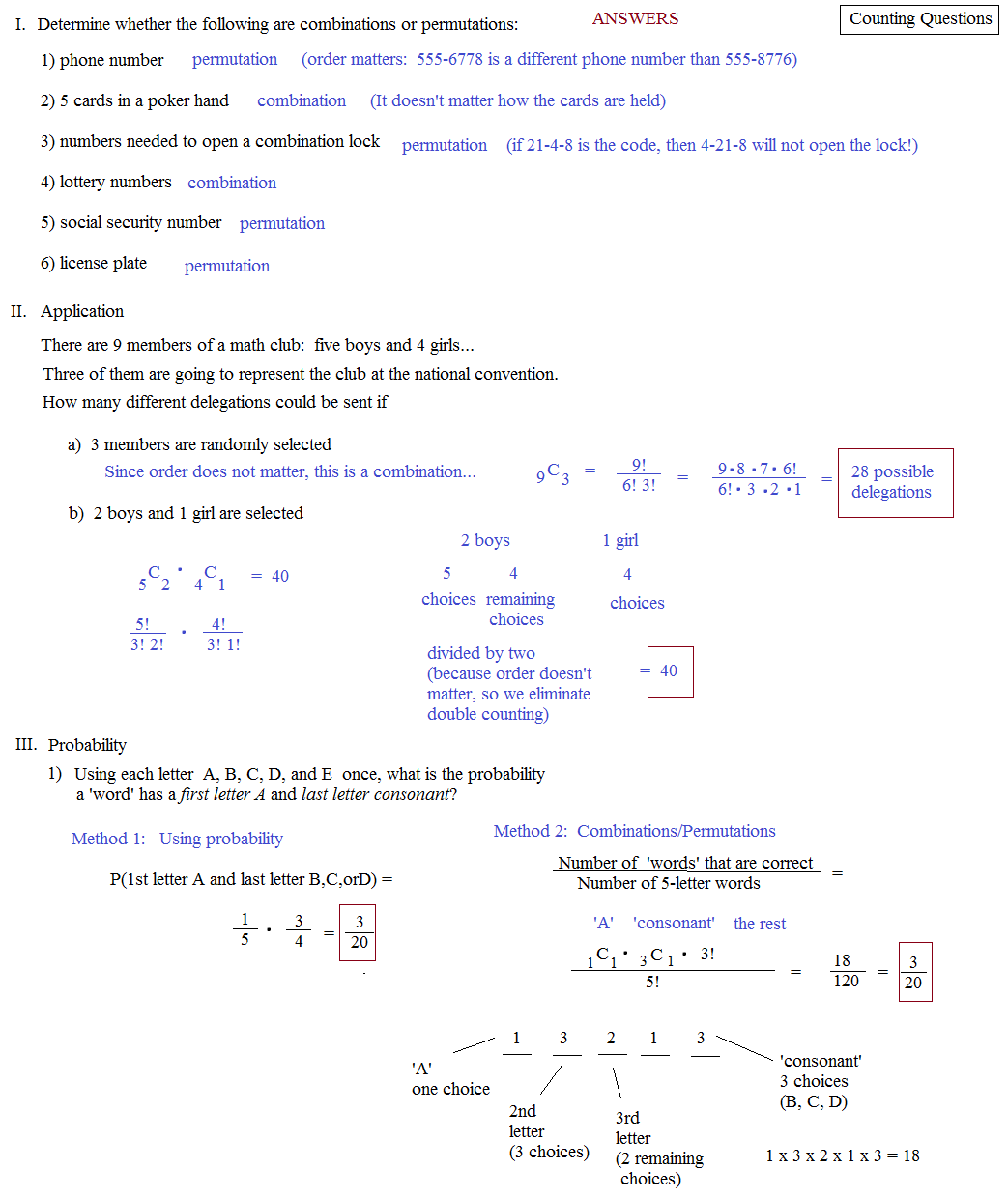 Math Plane Counting Principles Permutations and Combinations – Combination and Permutation Worksheet