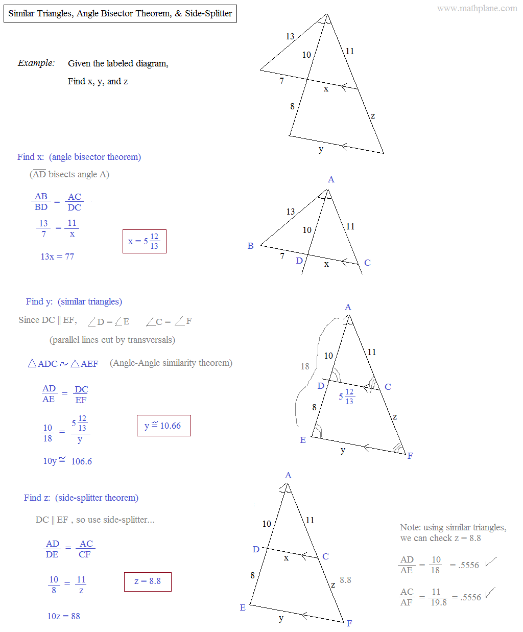 worksheet Similar Triangles Proportions Worksheet math plane similar triangles ratios angle bisector and side splitter