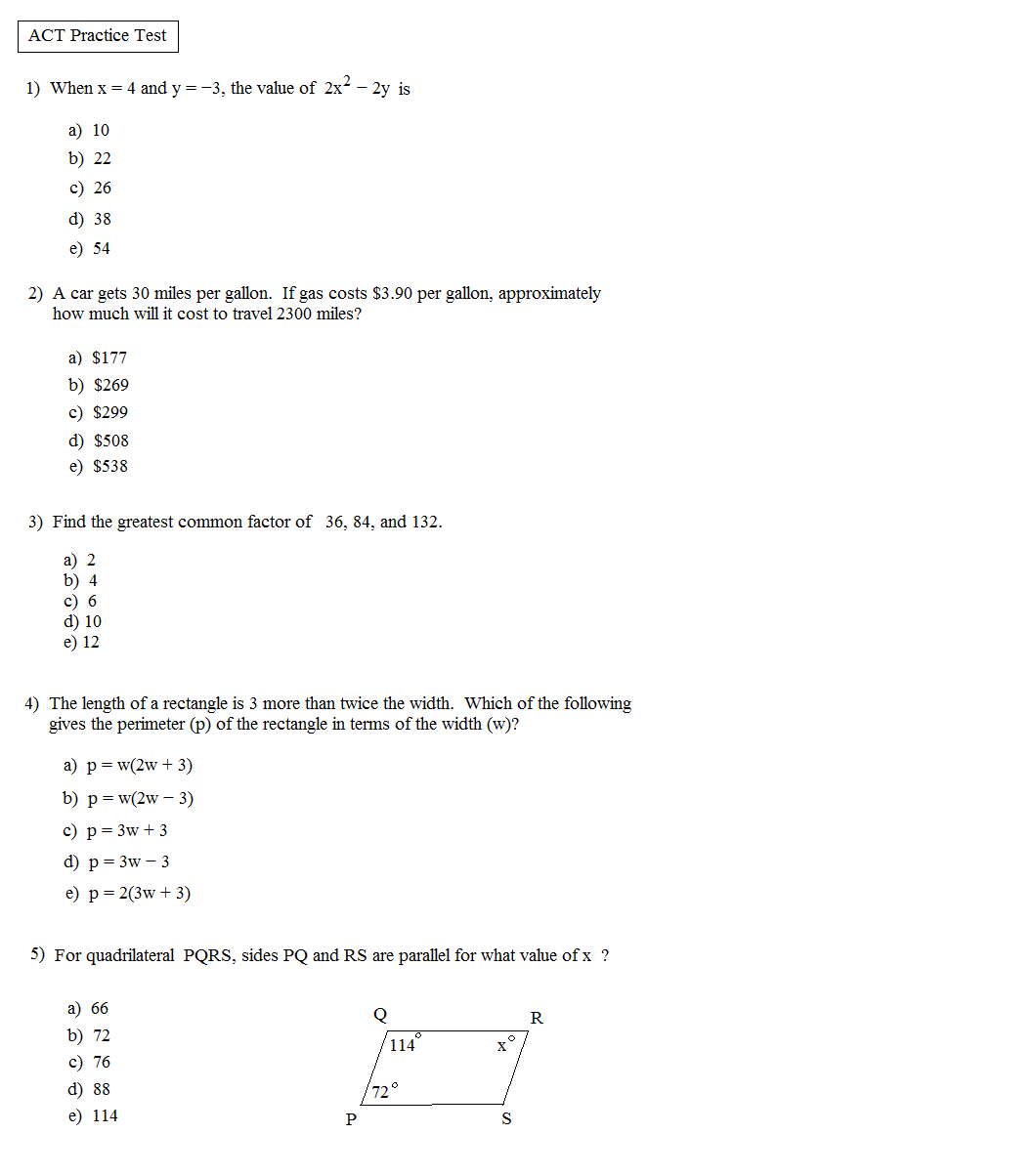 Practice Worksheets Delibertad – Act Math Practice Worksheet