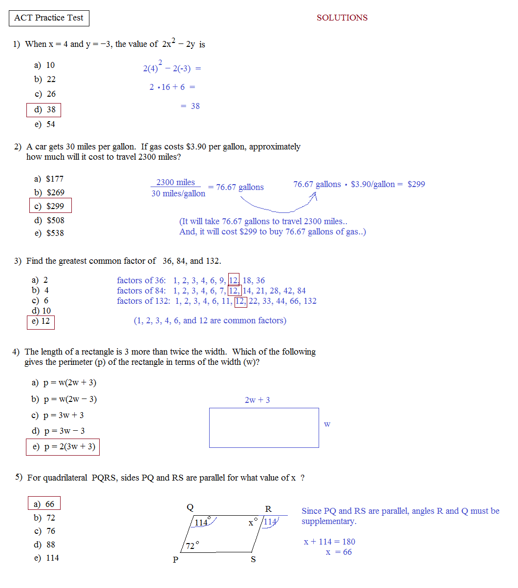 Printables Act Prep Worksheets math plane act practice test 1 1a solutions