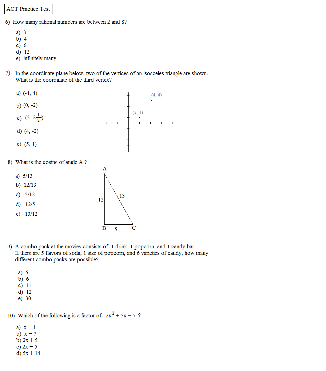 Worksheets Act Math Worksheets math plane act practice test 1 1a 1b