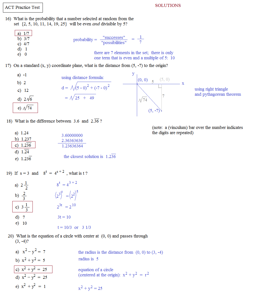 Math Plane ACT Practice Test 1 – Act Math Practice Worksheet