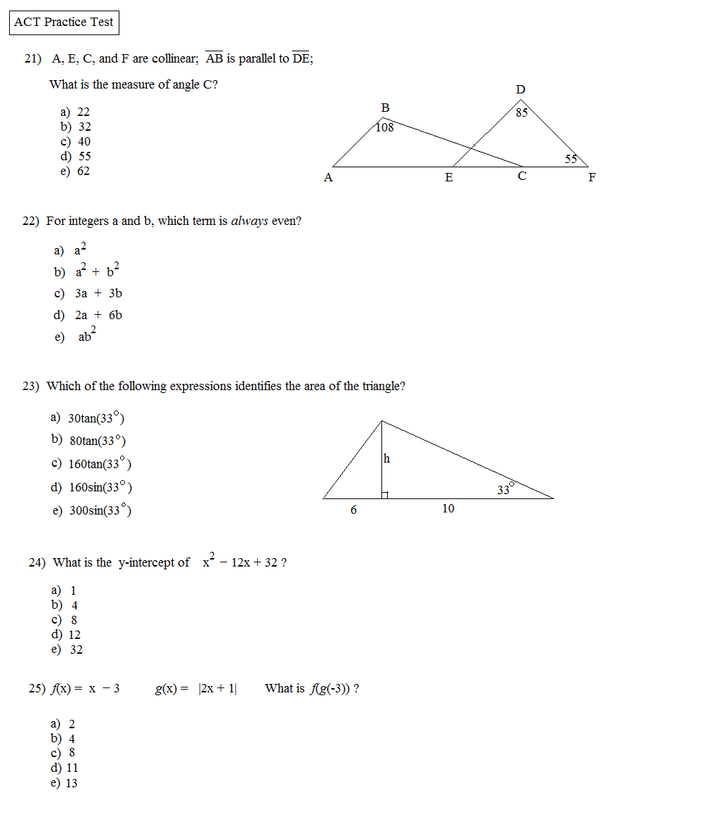 Act Practice Worksheets Delibertad – Act Math Practice Worksheet