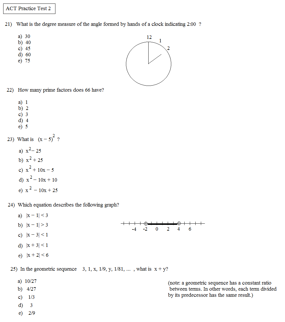 Worksheets Act Math Worksheets math plane act practice test 2 2e