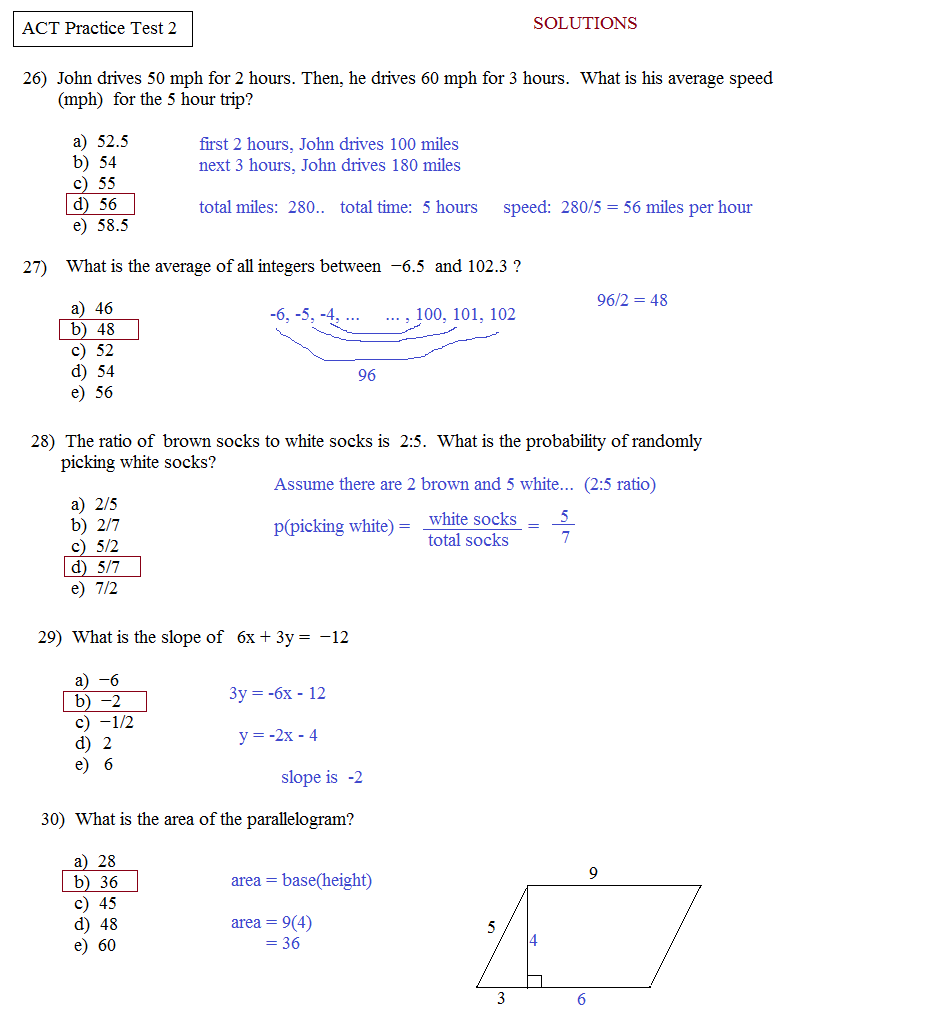 Printables Act Prep Worksheets math plane act practice test 2 2f solutions