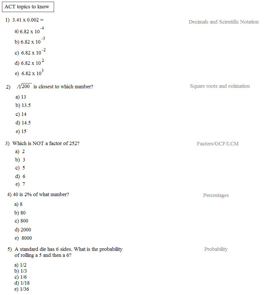 Worksheets Act Math Worksheets math plane act subjects to know topics 1 prealgebra