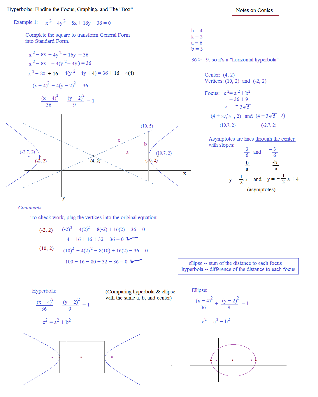 Worksheets Hyperbola Worksheet math plane conics ii hyperbolas and parabolas hyperbola 1 2