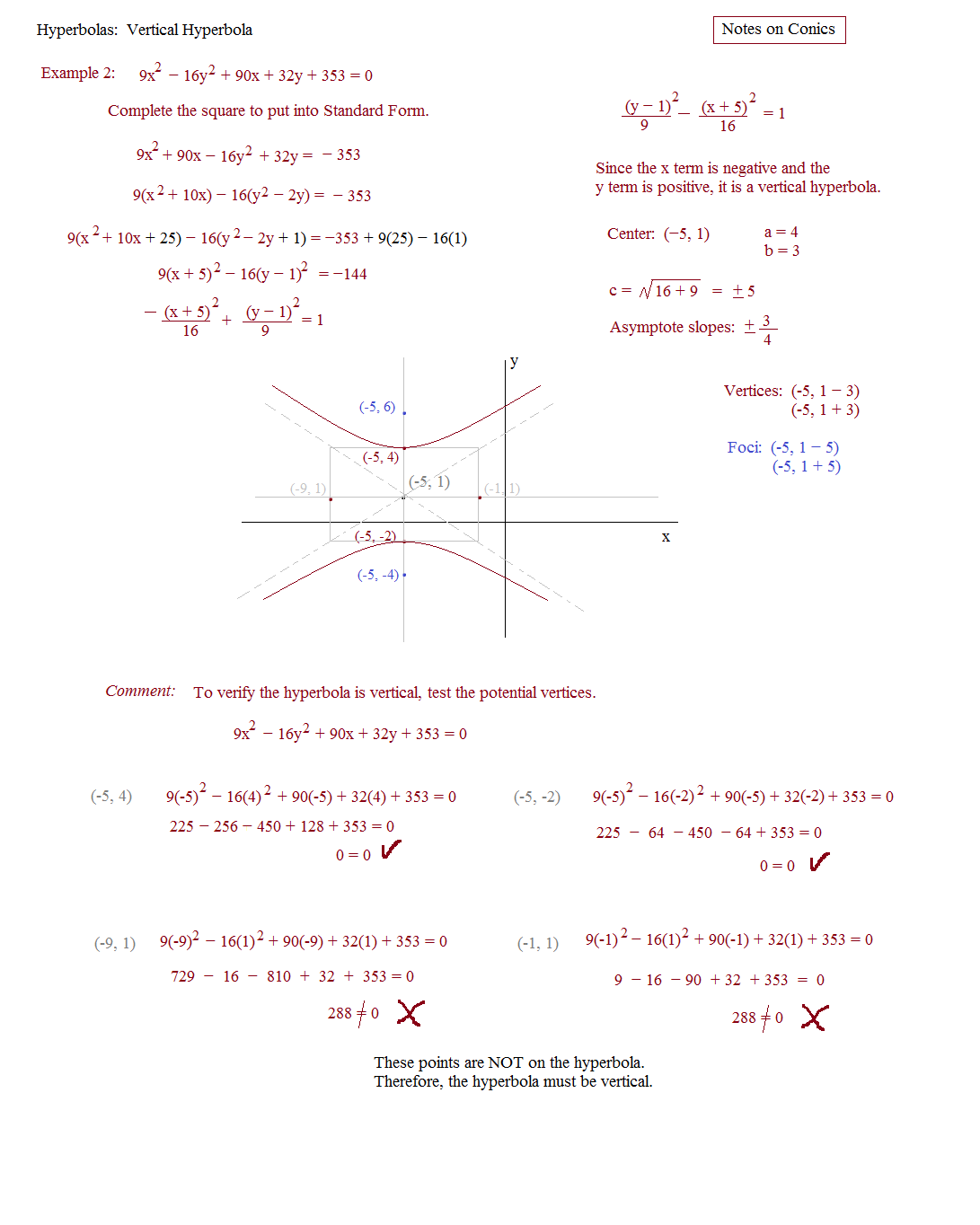 Worksheets Hyperbola Worksheet math plane conics ii hyperbolas and parabolas hyperbola 3